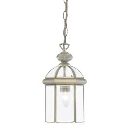 Antique Brass Domed Lantern With Bevelled Glass Panels, Adjustable
