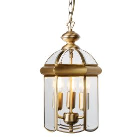 Antique Brass 3 Light Domed Lantern With Bevelled Glass Panels, Adjustable