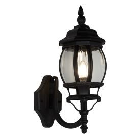 Bel Aire, Ip44 Black Outdoor Wall Uplight With Clear Polycarbonate Panels