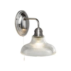 Bistro Iii - Wall Light, Satin Silver Halophane Glass