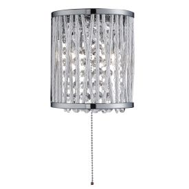 Elise 2 Light Chrome Wall Bracket With Crystal Drops/twisted Metal Rods