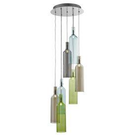 7 Light Multi-coloured Glass Bottle Pendant, Adjustable Height