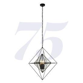 Diamond 3lt Pendant - Black With Clear Glass