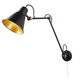 1 Light Adjustable Wall Bracket, Matt Black, Gold