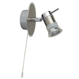 Aries Led Ip44 Chrome - Satin Silver Wall Spotlight, Adjustable