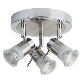 Aries Led Ip44 Chrome & Satin Silver 3 Light Spotlight, Adjustable