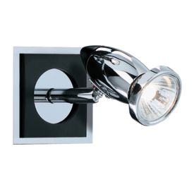 Comet Aluminium Chrome Black Spotlight Wall Bracket, Switched, Adjustable Head