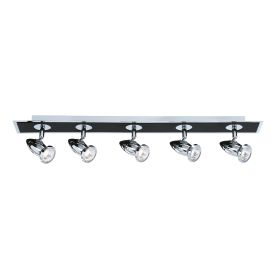 Comet Die Cast Aluminium Chrome & Black 5 Light Spotlight Bar, Adjustable Heads
