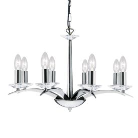 Portico Polished Chrome 8 Light Chandelier White String Shades | 6888 8CC