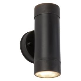 Outdoor 2 Light Cylinder Pp Wall Bracket, Black