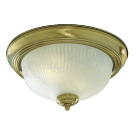 Antique Brass Flush Light With Opal Glass Diffuser