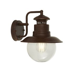 Station 1lt Outdoor Wall/porch Light - Rustic Brown With Clear Acrylic