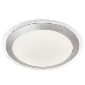 Silver Led Ip44 Flush Light With White Acrylic Shade