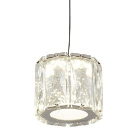 Led 1 Light Octagon Pendant, Clear Crystal Trim, Crushed Ice Deco