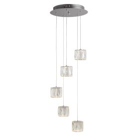 Led 5 Light Octagon Ceiling Multi-drop, Clear Crystal Trim, Crushed Ice Deco