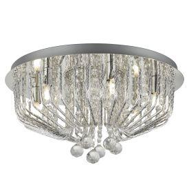 6 Light Ceiing Flush, Chrome, Clear Crystal Ball Drops & Aluminium Rod Trim