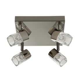 Led Blocs - 4 Light Spotlight Square, Black Chrome, Clear Glass (ice Cube)