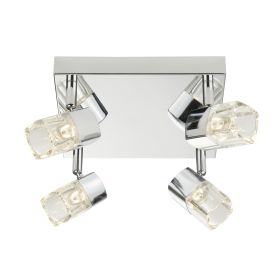 Led Blocs - 4 Light Spotlight Square, Chrome, Clear Glass (ice Cube)