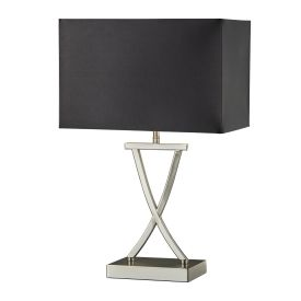 Cross Satin Silver Table Lamp With Drum Shade