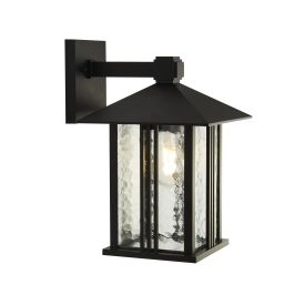 Venice 1lt Outdoor Wall / Porch Light - Black With Water Glass