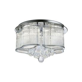 Mela Led Chrome Ceiling Light With Crystal Drops