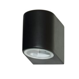 Black Ip44 Outdoor Light With Fixed Glass Lens