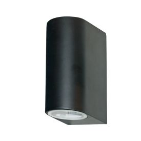 Black Ip44 2 Light Outdoor Light With Die Cast Aluminium & Fixed Glass Lens