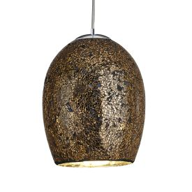 Crackle Bronze Mosaic Glass Dome Fitting With Satin Silver Trim