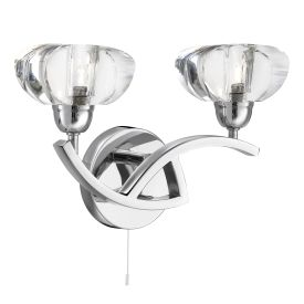 Sculptured Ice Chrome 2 Light Curved Wall Bracket With Clear Glass