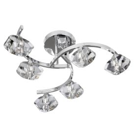 Sculptured Ice Chrome 6 Light Curved Semi-flush Fitting With Clear Glass