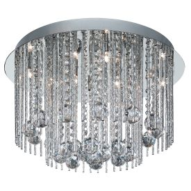 Beatrix Chrome 8 Light Flush Fitting With Crystal Drops