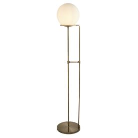 1 Light Floor Lamp, Antique Brass, Opal White Glass Shade