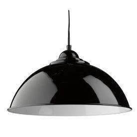 Fusion Black Half Dome Metal Pendant Light, White Inner Adjustable Height
