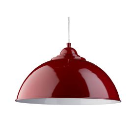 Fusion Red Half Dome Metal Pendant Light, White Inner