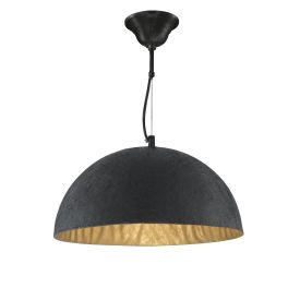 Dome Metal Dome Pendant Light With Gold Inner, Adjustable
