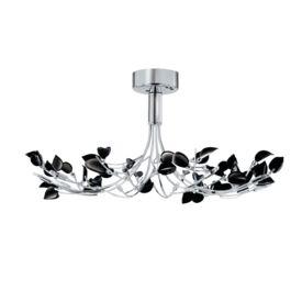 Wisteria Chrome 10 Light Semi-flush Fitting With Black Glass Leaves