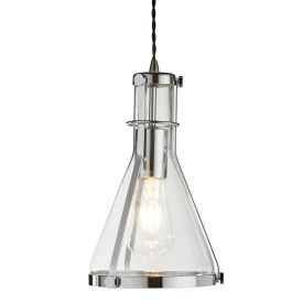 1 Light  Metal Framed Conical Glass Pendant, Chrome, Clear Glass