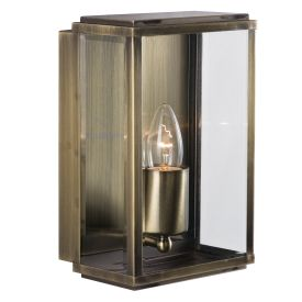 Antique Brass Ip44 Rectangular Outdoor Wall Light With Bevelled Glass