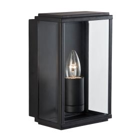 Black Ip44 Rectangular Outdoor Wall Light With Bevelled Glass