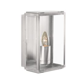Satin Silver Ip44 Rectangular Outdoor Wall Light With Bevelled Glass