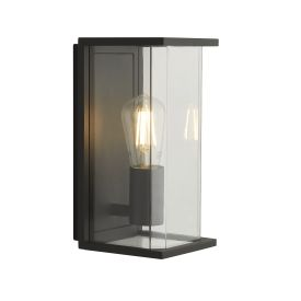 1lt - E27 -  Outdoor Boxed Wall/porch Light - Dark Grey With Clear Glass