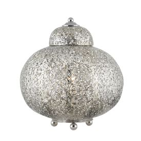 Moroccan Shiny Nickel Table Lamp With Patterned Finish