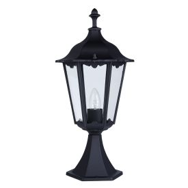 Alex Ip44 Black Die Cast Aluminium Outdoor Post Lamp Clear Glass Panels