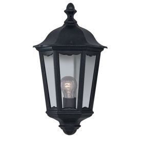 Alex Ip44 Black Aluminium Outdoor Wall Light, Glass Panels
