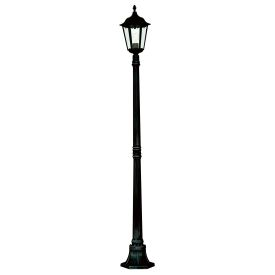 Alex Ip44 Black Die Cast Aluminium Outdoor Post Lamp With Clear Glass Panels