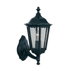 Alex Ip44 Black Die Cast Aluminium Outdoor Wall Light With Clear Glass Panels
