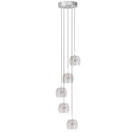 Crackle White Mosaic Glass Shade 5 Light Fitting, Adjustable Height