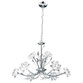 Bellis Chrome 9 Light Fitting With Clear Flower Glass