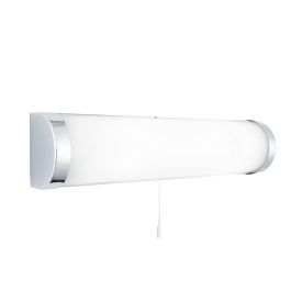 Ip44 Chrome 2 Light Wall Bracket With White Glass Tube Switched