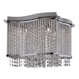 Elise Chrome 3 Light Fitting With Crystal Button Drops & Diamond Tubes